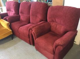 TWO SEATER SOFA WITH INE RECLINER ARMCHAIR AND ANOTHER ARMCHAIR