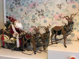 Santa clause sledge & 3 reindeer