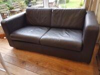 Pair of dark brown 2 seat leather sofas