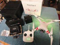 DJI Phantom 2 V2 2.4Ghz FPV SETUP H3-3D Gimble + IOSD + Fatshark P2 Goggles (As new) mint condtion