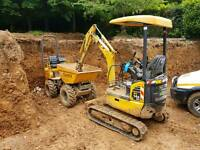 Mini digger hire man and Digger £150 and dumper hire