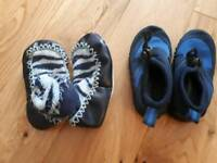 Children's Mocc ons and water shoes