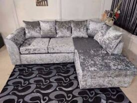 Silver Crushed Velvet Corner Sofa (Right Arm)
