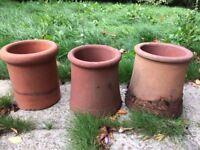 3 x small Chimney pots