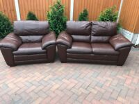Brown leather suite, two seater sofa, couch, settee, single chair (free local delivery 🚚🚚🚚)