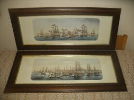 2 Framed Prints/Pictures Louis Le Breton French 1850s Warships Battle Scenes
