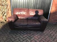 2 seater brown leather sofa FREE