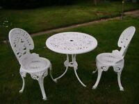CAST IRON 2 SEAT ANF TABLE SET PAINTED WHITE