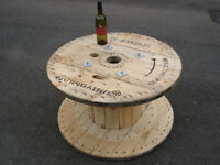 Wooden Reclaimed Industrial Cable Reel/Drum,Table, 85 cm x 47 cm Upcycled/Craft project.
