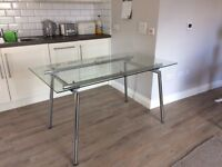 Clear Glass and Chrome Table. Seats 4/6