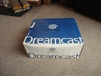 Open boxed Sega Dreamcast with Sega Rally Game