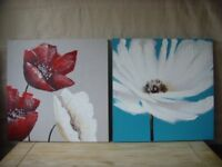 Two Canvas Flower Paintings - FREE DELIVERY