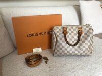 Genuine Louis Vuitton Speedy Bandoulière 25 Damier Azul handbag. Strap & box included