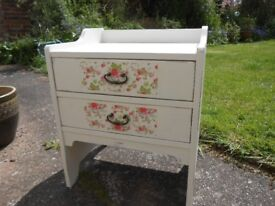 Pretty solid wood 2 drawer chest
