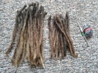 2 crochet needles and 50 real hair dreadlocks