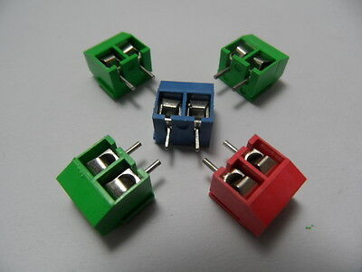 50pcs 2 Pin 2-way Screw Terminal Block Connector 5mm Pitch Panel Pcb Mount