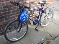 Fusion mans bicycle blue, all good, inc lights lock pump and helmet, twist grip gears.
