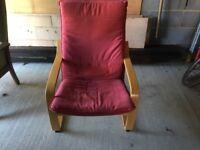 Ikea dark red poang chair