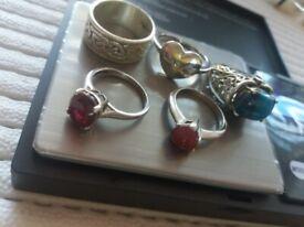5 silver hallmarked rings