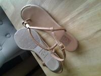 sandles tan thong style with gilt trims size 6 . £6