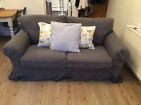 IKEA EKTORP TWO SEATER SOFA WITH CUSTOM MADE LINEN COVERS- DARK GREY