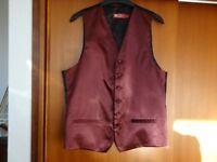 Men's Burgundy Wedding Waistcoat & Tie. Size S.