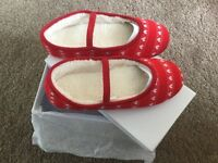 Clarks Flutter dreams red and white girls slippers size 2F