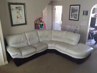 dfs Used Leather Corner and Three Seaters Sofa