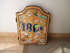 Dartboard in cabinet ( bmx stickers ) with darts - SEE ALL PHOTOS - £15 CASH - BARGAIN