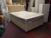 4 drawer double divan bed with cream suede headboard & 10 inch thick mattress