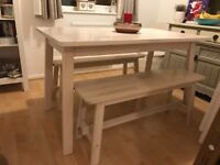 Immaculate condition IKEA table and 2 benches
