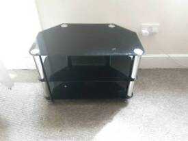 Black chromed glass TV stand with shelves coffee table
