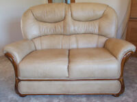 Leather two seater sofa and chair