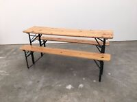 Folding Beer Hall / Garden / Picnic Table and Benches (German Style )