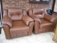 Three Tan Leather Armchairs. Handmade by Saxon