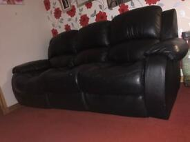 2 and 3 seater black leather recliner sofa [brilliant quality