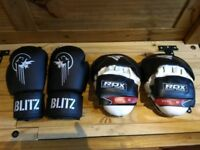 Blitz Boxing Gloves and RDX Focus Pads