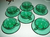 Vintage French Arcoroc Green Glass Tea Set Canvey Island