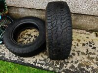 Part worn Hankook Tyres 2X P255/65R/17...Just removed today and only done a few thousand miles!