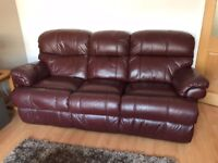 Rialto leather sofa set (1 x 2 seater; 1 x 3 seater) - recliner, burgundy
