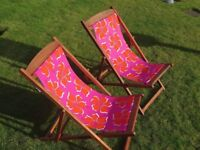 Pair of high quality Hardwood Deckchairs. In excellent once-used condition.