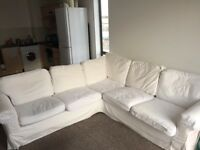 Ikea Ektorp white 4 seater corner couch with BRAND NEW set of Red Cord covers