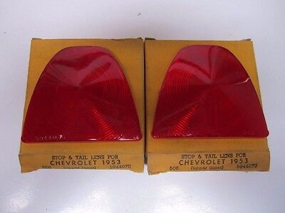53 Chevrolet Bel Air 150 210 Upper Inner Tail Light Lenses Pair NORS 506