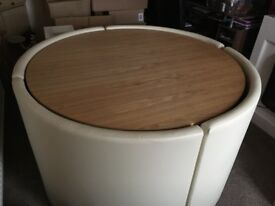 Light Oak Table and 4 cream leather chairs, only used twice