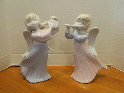 2 Ceramic Angel Statues Figurines Singing & Dancing Playing Harp Flute Christmas