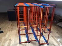 4 X HEAVY DUTY STORAGE RACKS 6ft by 4ft - 6 shelved Orange / Blue