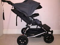 MOUNTAIN BUGGY DUET V2.5 IMMACULATE CONDITION WITH RAINCOVER (BOUGHT NEW 1 YEAR AGO - £190 ONO)