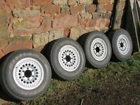 Mitsubishi 4x4 wheels (4) with good 215/75/15 tyres. Wheels have been refinished in Hammerite silver