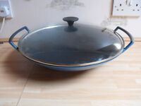 Le Creuset Cast Iron Wok with Glass Lid, 36 cm Blue
