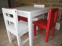 W x D x H -/White IKEA KRITTER Childrens Table Solid Wood/- 50/x 59/x 50/cm/